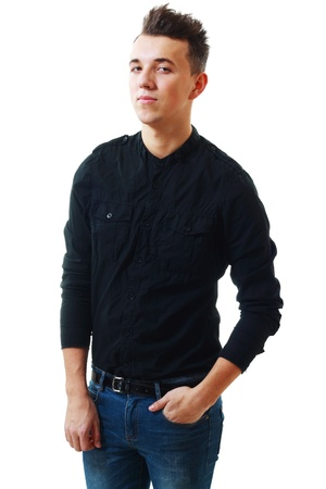 Closeup portrait of young man in black shirt isolated on white photo