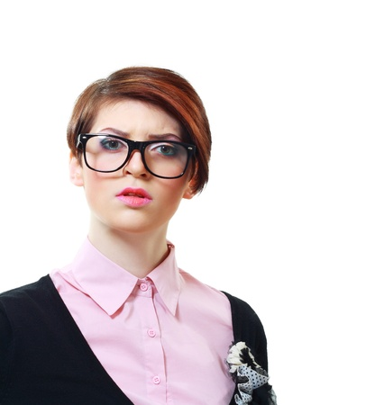 fidgety: concerned young woman in eyeglasses looking to the camera