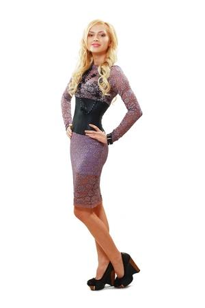 Beautiful woman posing in lace dress photo