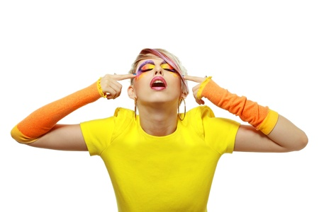 fashion glamour grunge girl in yellow with creative paint make up - white background Stock Photo - 18043095