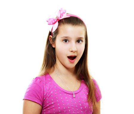 portrait of a surprised little girl in pink shirt isolated on white photo