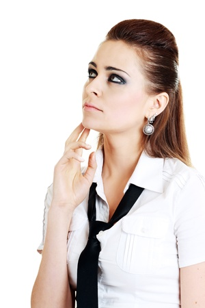 Sexy young woman thinking isolated  photo