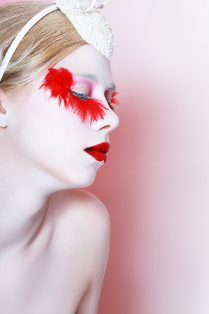 light complexion: High fashion model close up Creative Makeup False red eyelashes Red lips