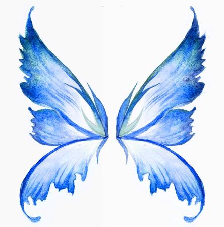espiritu santo: hada azul alas acuarela drenaje de la mano Foto de archivo