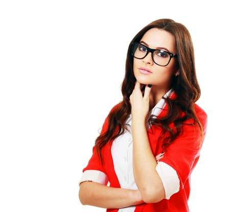 beautiful business woman in glasses in red jacket photo