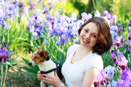 beautiful brunette woman with short haircut with her little dog in irises photo