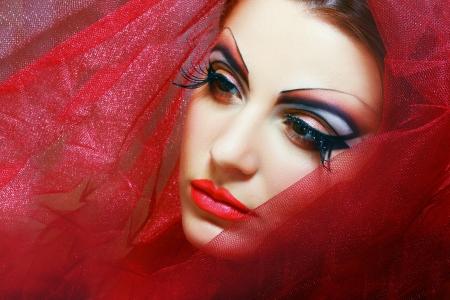 eyeshades: Gorgeous Young model beautiful women with perfect art make up and long false eyelashes Stock Photo