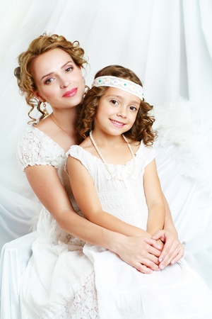 beautfiul mother and the daughter of the woman of fashion photo