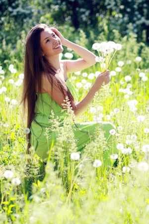 Spring Beauty outdoors.Perfect skin photo