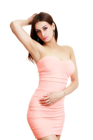 girl in pink dress isolated on white background