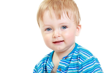 3 year old boy: Close up portrait of cute little one-year boy on white background