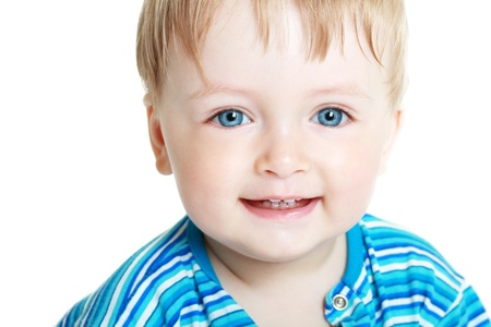 Close up portrait of cute little one-year boy on white background photo