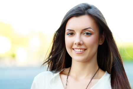 portrait of woman: Portrait Of Young Smiling Beautiful Woman