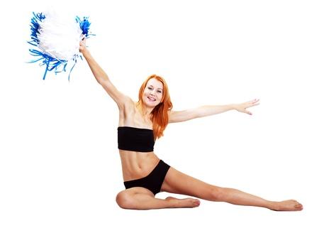 pom pom: Pretty cheerleader with pom pom on a white background