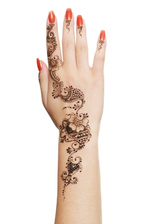 henna tattoo: Image detail of henna being applied to hand isolated over white
