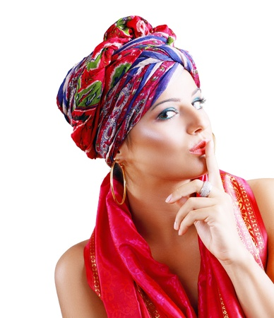 beautiful fasion woman in turban and ethnic outfit on white background hush photo