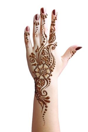 tribales: Detalle de la imagen de la henna se aplica a mano aisladas sobre pizca