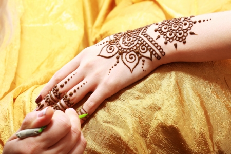 Image detail of henna being applied to hand Stock Photo - 22427940