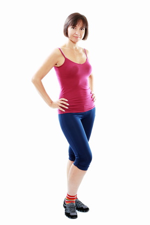 Fitness healthy middle aged woman standing in relax pose Stock Photo - 23180871