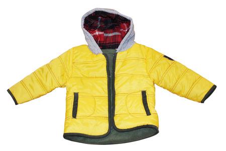 Trendy child yellow sport warm jacket isolated on white  Stock Photo