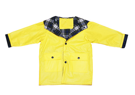 children's wear: Childrens wear - Yellow classic raincoat isolated over the white  Stock Photo