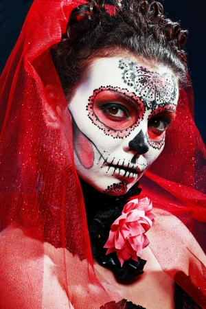 sugar veil: halloween make up sugar skull beautiful model with perfect hairstyle. Santa Muerte concept.