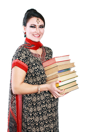 Happy Indian college student woman in national traditional clothes photo