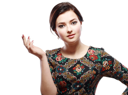 bright picture of talking asian or multirace young woman over white Stock Photo - 26658624