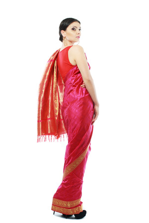 Full body traditional Indian beautiful fashion model girl in sari costume photo