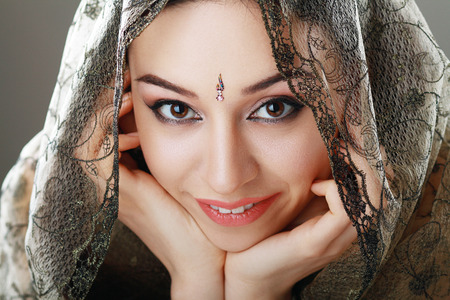 Indian beauty face close up perfect make up. Series. young beautiful brunette in traditional national dress photo