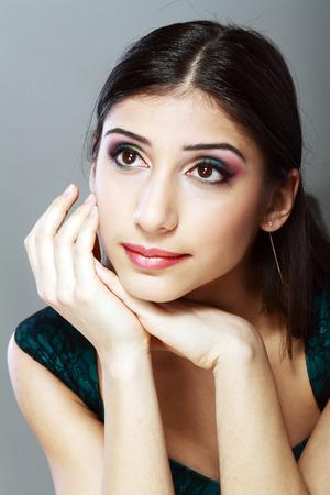 Oriental style. Sensual arabic woman model. Beautiful clean skin photo