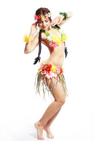 Beautiful exotic girl with Hawaiian accessories Stockfoto