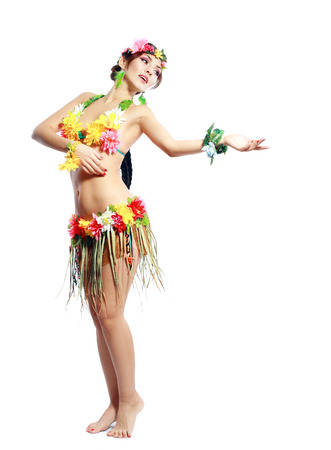 Beautiful exotic girl with Hawaiian accessories, hula dancer isolated on white  photo