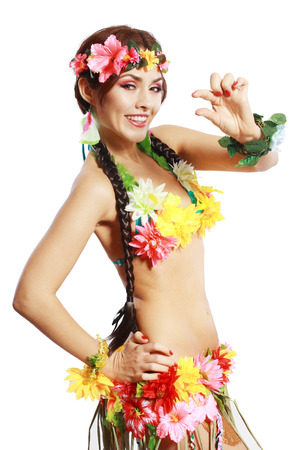 Beautiful exotic Hawaiian Woman showing small amount of something with fingers Stock Photo