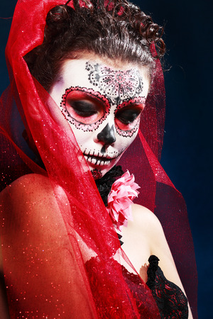 tophat: halloween make up sugar skull beautiful model with perfect hairstyle. Santa Muerte concept.