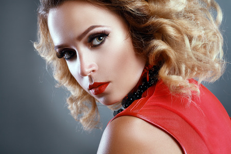 Gorgeous Young model beautiful women with perfect make up and long false eyelashes