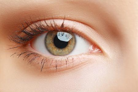 eye hole: extreme closeup of beautiful womanish eye with glamorous makeup macro