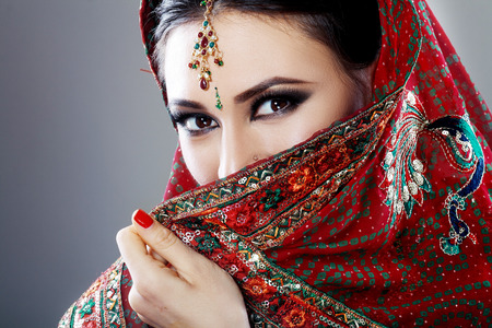 brunette girl: Indian beauty face close up beautiful eyes with perfect make up wedding Stock Photo
