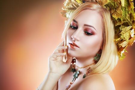 Autumn Woman Fashion Portrait. Fall. Beautiful Girl. Fashion Art photo