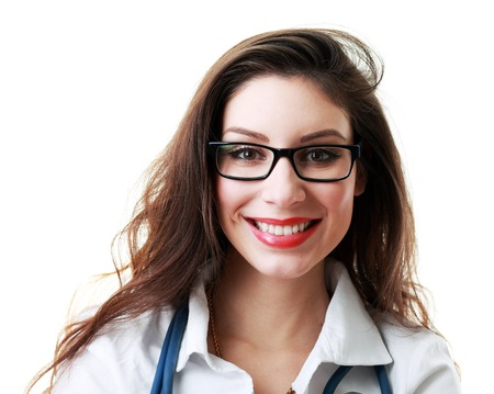 medical attendance: Beautiful female doctor in glasses and folded arms isolated on a white background