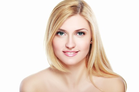 naked woman  white background: Portrait of a sensual beautiful young blond woman isolated on white background Stock Photo