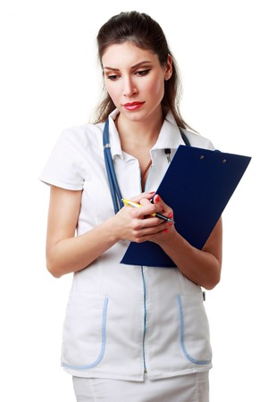 doctor stress: Overburdened doctor at the hospital in the stress