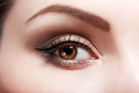 eye brow: extreme closeup of beautiful womanish eye with glamorous makeup macro
