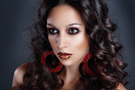 high fashion model: beautiful female high fashion model with curly hair gipsy girl Stock Photo