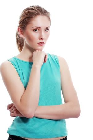 bad attitude: Closeup portrait displeased, pissed off, angry, grumpy, young woman with bad attitude, arms crossed looking at you, isolated white background. Negative human emotions, facial expressions, feelings