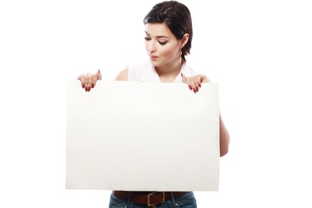 young add: portrait of asian girl holding a big blank white card