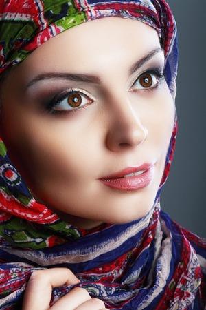 head scarf: Beautiful Arabic woman wearing head scarf