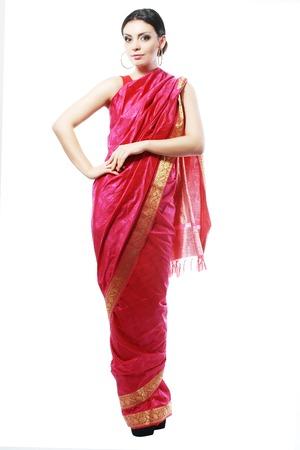 Full body traditional Indian beautiful fashion model girl in sari costume