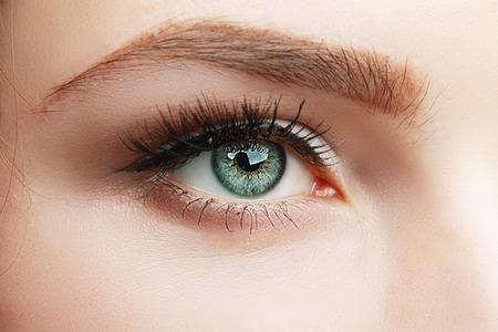 매혹적인 메이크업 매크로 녹색 아름다운 여자 다운 눈의 극단적 인 근접 촬영