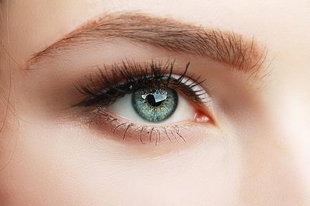 extreme closeup of green beautiful womanish eye with glamorous makeup macro
